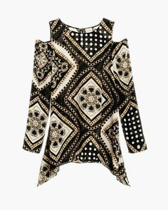 Chico's - Asymmetrical Cold-Shoulder Status Print Top - Black/Optic White