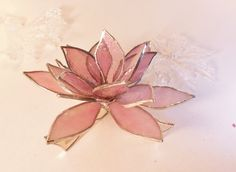 3D Pink Lotus Flower. Stained Glass by jacquiesummer on Etsy, $45.00