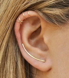 d6b3dda08749be Modern Minimalist Set of 3 - Ear Climber, Smooth Ear Sweeps, Double Ear  Cuff, Earring Climbers Criss Cross Ear Cuff, Gold Crawlers - Cool Pins!