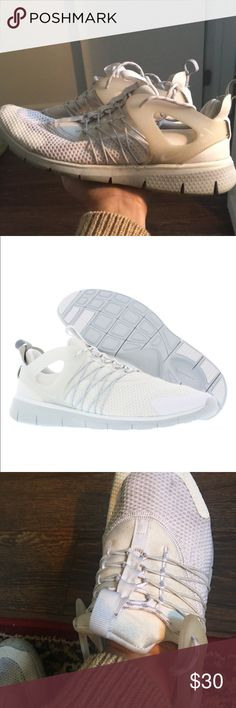 Womens Nike Free Viritous White Shoe Sneakers 8.5 Womens Nike Free Viritous Sneakers Sz 8.5 White Machine Washable  Good conditions - 7/10.  Some marks/stains that will very likely come out.  Pet free and smoke free home.   Bundling available. Nike Shoes Athletic Shoes