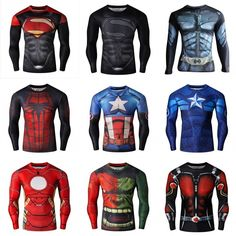 3e86c01dedc7 Men Superhero Marvel Costume 3D Comic Gym T-Shirts Long Sleeve Sports Jersey