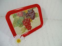 Vintage Red Trim Grape Litho Enamel Litho Metal Tray - Retro Vintner Bouquet ToleWare Decorative Tin Platter - Shabby BoHo Bistro Display $12.00 by DivineOrders
