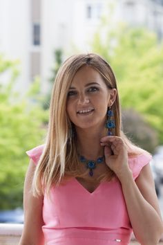 Agnieszka looking so pretty with Dori's Necklace and earrings. Thank you for sharing  #doricsengeri #blue #jewelry #fashion #bluejewelry
