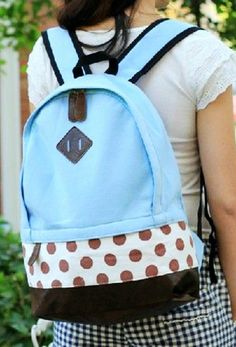 Mint Polka Dots Backpack, 2014 Fashion Polka Dot Backpack For Students,Polka Dot Backpack For Students
