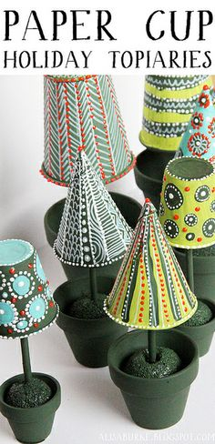 paper cup holiday topiaries - cute little project for the kids. Untitled-2 by mealisab, via Flickr
