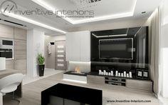 Projekt salonu Inventive Interiors - jasny salon z czarnym akcentem