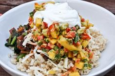 Colorful beans and rice. Skip the yogurt and cheese to make it non dairy. Done- It was delish and a definite do-over.