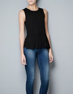 PEPLUM FRILL T-SHIRT - T-shirts - Woman - New collection - ZARA United States I have and I LOVE this top flattering in every way