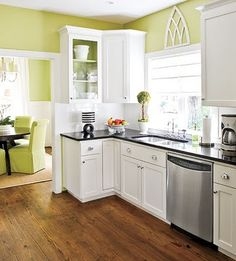 yellow-green kitchen, white cabinets, wood floors.  Kitchen colors?