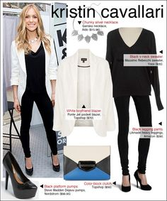 Go for simple black and white in our budget version of Kristin Cavallari's look from an event in Chicago last week.