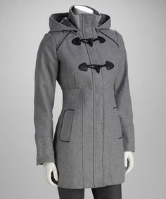 Love this Heather Gray Hooded Toggle Coat - Women by Yoki on #zulily! #zulilyfinds $16