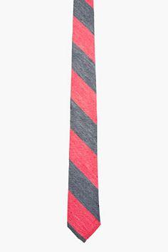 THOM BROWNE Red & Blue WASHED STRIPE Tie