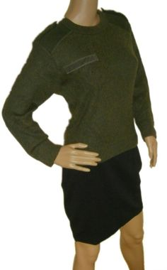 Vintage 1980s Women's French army jumper pullover sweatshirt military olive stretchy