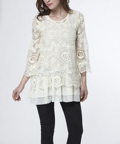 Love this Beige Ruffle Crochet Three-Quarter Sleeve Top by Simply Couture on #zulily! #zulilyfinds