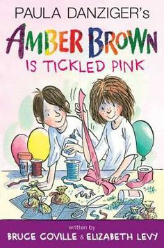 Amber Brown is Tickled Pink by Bruce Coville & Elizabeth Levy. Amber can't wait to be Best Child when her mom and Max get married, but planning a wedding comes with lots of headaches. Amber can't find the right dress, her dad keeps making mean cracks about Max, and Mom and Max have very different ideas about how much this wedding should cost. Her mother even suggests they go to city hall and skip the party altogether!