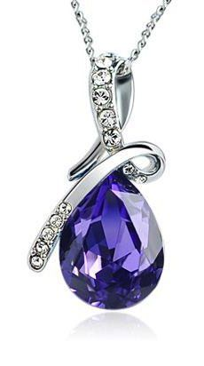 ARCO IRIS Eternal Love Teardrop Swarovski Elements Crystal Pendant Necklace for Women W 18k White Gold Plated Chain Amethyst Purple  Sale:$25.00