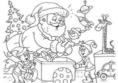 Free Santa AndElves Coloring Page Online And Printable A Great Selection Of Pages For Christmas Color Them In Or Print Out
