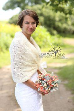 Bridal Bolero Winter Wedding Shawl Ivory Shawl by MODAcrochet