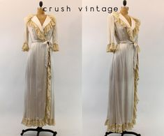 40s Lace Robe Small  / 1940s Silk Lingerie  /  by CrushVintage, $142.00
