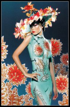 This Chinese dress (qi pao/旗袍) is actually BODY PAINT! Chinese ancient to modern fashion and costumes Body Painting Artists, Painting Tattoo, Woman Painting, Body Paintings, Chris Nicholls, World Bodypainting Festival, Mac Cosmetics, 3d Fantasy, Head Tattoos