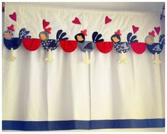 ideas de cortinas de cocina - Buscar con Google Summer Crafts, Diy And Crafts, Arts And Crafts, Rainbow Curtains, Sewing Hacks, Sewing Projects, Painted Curtains, Chicken Pattern, Fabric Cards