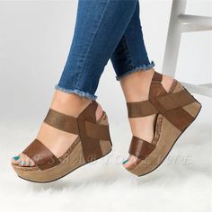 Damen PU Keilabsatz Sandalen Wedges With Others Schuhe - 2019 Casual Outfits & More - Shoes Heels Wedges, Peep Toe Wedges, Wedge Heels, Wedge Sandals Outfit, Wedges Outfit, Sandal Wedges, Clog Sandals, Cheap Heels, Cheap Sandals