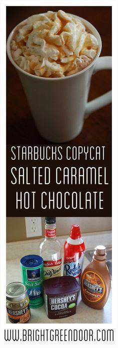 Starbucks Copycat Salted Caramel Hot Chocolate, Fall Drink Recipe, Starbucks Copycat Recipe, Starbucks Hot Cocoa Recipe www.BrightGreenDoor.com