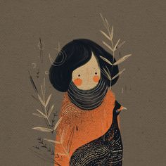 woman with scarf illustration - casinha on Behance
