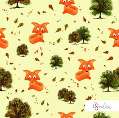 Foxes Autumn - textile surface pattern design for girls or boys with dogs in gray background.