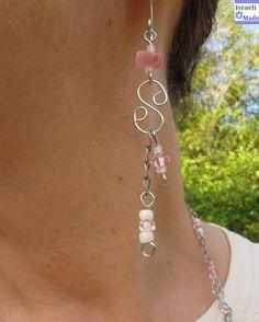 Wire wrap earrings pink beads - IsraeliMade