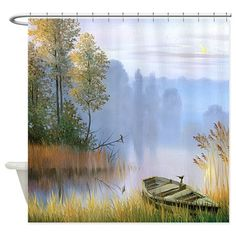 Lake Painting Shower Curtain on CafePress.com