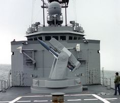A SM-2 missile in the Mark 13 missile launcher on the USS Halyburton FFG-40.