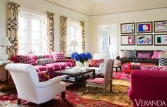 Bright, deep shades of pink figure prominently in Texas designer Kelli Ford's Southampton home.