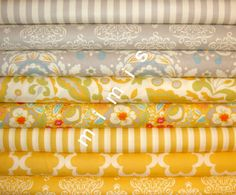 Yellow scheme    Dena Designs Fabric / Taza Collection / 8 Half Yard Bundle Cotton Quilt Fabric