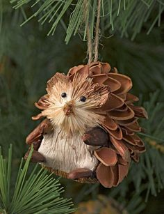 Hedgehog Ornaments, Set of 3. Handcrafted from natural materials. Who could resist!