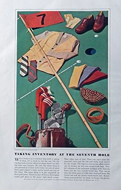 Men's Fashions, Vintage Print Ad. 30's Color Illustrations (Golf, taking inventory at the seventh hole) Original Rare 1938 Esquire Magazine Art