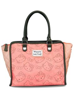 """Hello Kitty Perforated"" Fashion Tote Handbag by Loungefly (Pink) #pink #fashiontote #handbag #bag #inkedshop #inked #tote #hellokitty #pinkbag"