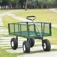 Ollieroo Utility Wagon Farm and Ranch Heavy-Duty Steel Garden Cart with Removable Folding Sides and Pneumatic Tires Capacity Bed Powder Coated Green Finish Garden Wagon, Wheelbarrow Garden, Garden Cart, Herb Garden, Best Wagons, Beach Wagon, Beach Cart, Pallet Patio Furniture, Cars