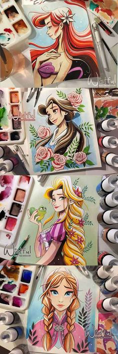 Four Princess Aquarelle by Wistful #disney #disneyprincess #ariel #beauty #raiponce #anna