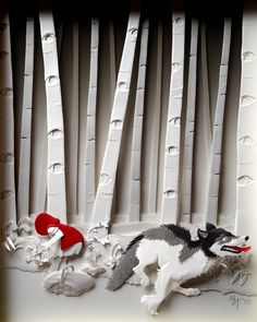 Self-taught Korean artist Cheong-ah Hwang creates beautiful and intricate works of art that are made entirely out of paper. In order to gain exposure and fund a project to make low-cost prints of her Little Red Riding Hood layered paper sculpture, she joined Kickstarter