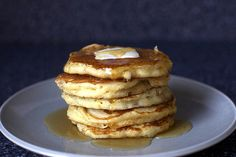 sweet corn pancakes, butter, syrup