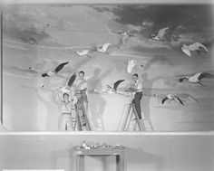 Museum staff at work on Flying Bird Group, Sanford Hall amnh