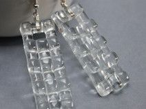 Clear Chanky Dangle Glass Earrings