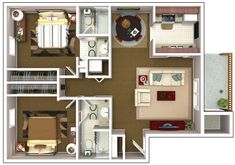 Casa 2 habitaciones 3d Home Design, Condo Design, Small House Design, Home Design Plans, Interior Design, Apartment Plans, Dream Apartment, Small House Plans, House Floor Plans