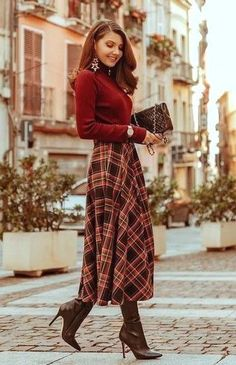 Modest Winter Outfits, Simple Fall Outfits, Winter Outfits Women, Winter Dresses, Classy Outfits, Fall Outfit Ideas, Ladies Outfits, Mode Outfits, Skirt Outfits