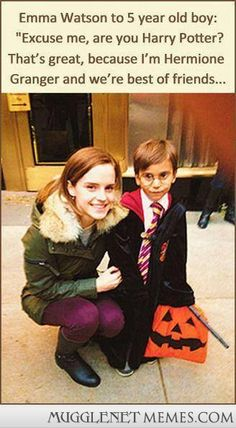 Excuse me, are you Harry Potter? Emma Watson saw a little boy dressed as Harry Potter on Halloween and said this...