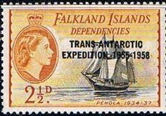 Falkland Islands Dependencies Trans-Antarctic Expedition Overprints Set Fine Mint SG G40 4 Scott 1L24 Other Falkland Island Stamps HERE