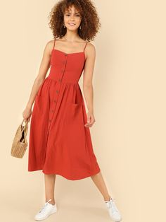 Shop Pocket Patched Button Up Cami Dress online. SHEIN offers Pocket Patched Button Up Cami Dress & more to fit your fashionable needs. Modest Dresses, Casual Dresses, Summer Dresses, Maxi Dresses, Fit And Flare, Dress Outfits, Fashion Dresses, Cami Dress Outfit, Dress Clothes