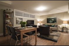 Contemporary Basement Living and Dining Area   Income Property   HGTV Canada