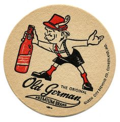 The Original Old German Premium Brand. Queen City Brewing Co. Cumberland Maryland, Beer History, Sous Bock, City Brew, Beer Mats, Restaurant Photos, Beer Coasters, Vintage Ads, Vintage Food